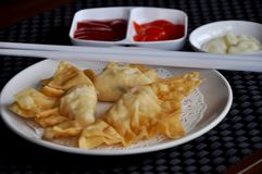Pangsit goreng mayonaise. Contain shrimp Royalty Free Stock Photo