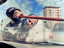 Panhandling window washer Stock Images