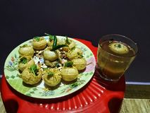Golgappa with Tamarind juice delicious menu. royalty free stock images
