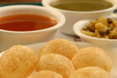 Pani puri is a popular street snack of India Stock Photography