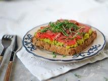 Pani tostati casalinghi con l'avocado ed il salmone affumicato, spruzzati con crescione e sesamo nero Fotografia Stock