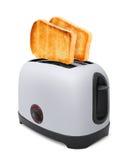 Pani tostati che volano dal tostapane isolato immagini stock libere da diritti