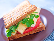 Pani tostati con formaggio Fotografie Stock Libere da Diritti