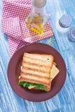 Pani tostati con formaggio Fotografia Stock Libera da Diritti