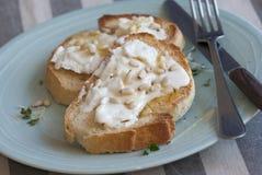 Pani tostati con il formaggio della capra Fotografia Stock Libera da Diritti