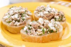 Pani tostati con il tonno ed il formaggio casalingo Fotografie Stock Libere da Diritti