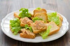 Pani tostati con patè Immagine Stock Libera da Diritti