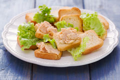 Pani tostati con patè sul piatto bianco Immagine Stock