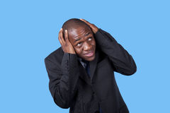 Panic from an african businessman Royalty Free Stock Photo