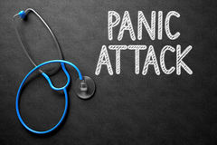 Panic Attack Concept on Chalkboard. 3D Illustration. Stock Image