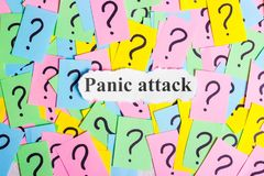 Panic Attack Syndrome text on colorful sticky notes Against the background of question marks Stock Photography