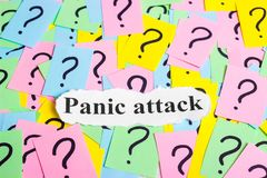 Panic Attack Syndrome text on colorful sticky notes Against the background of question marks Royalty Free Stock Images