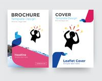 Panic brochure flyer design template. With abstract photo background, minimalist trend business corporate roll up or annual report Royalty Free Stock Photos