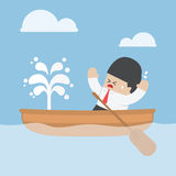 Panic businessman with leaking boat Stock Images