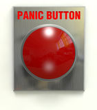 Panic Button. Red panic button mounted on a brushed stainless plate with clipping path Stock Photo
