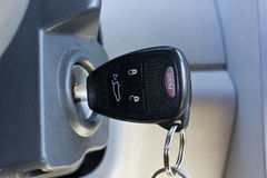 Panic button. Ignition key with remote lock, unlock and panic buttons Royalty Free Stock Photos
