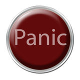 Panic Button. Red button with the word Panic Stock Images