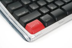 Panic button. A panic button on a computer keyboard Stock Photo