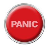 Panic Button. Red round button with the word Panic Stock Images