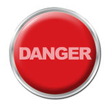 Panic Button. Red round button with the word DANGER Stock Photos