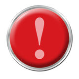 Panic Button. Red round button with the exclamation mark symbol Stock Image