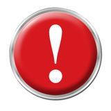 Panic Button. Red round button with the exclamation mark symbol Royalty Free Stock Images