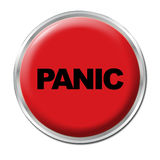 Panic Button. Red round button with the word Panic Stock Photography