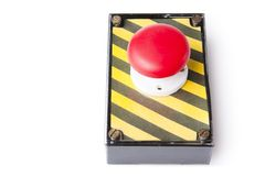 Panic button box isolated on white Stock Images