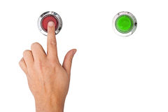 Panic button. A finger pressing a red panic button on white background Stock Photography