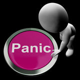 Panic Button Shows Alarm Distress And Crisis Stock Images
