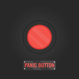 Panic button sign on black background. Panic button sign. Vector illustration of a red emergency stop button on black rusty  panel. Touch, push or press symbol Stock Photography