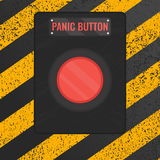 Panic button sign on yellow striped background vector illustration