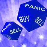 Panic, Buy, Sell Dice Background Showing International Transacti Stock Images
