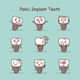 Panic cartoon tooth implant set Royalty Free Stock Photos