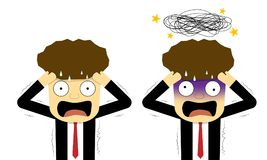 Panic and confused businessman in flat, vector art. Design vector illustration