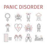 Panic disorder line icon infographic. Vector illustration. Panic disorder line icon infographic. Vector sign for web graphics, magazines, brochures stock illustration