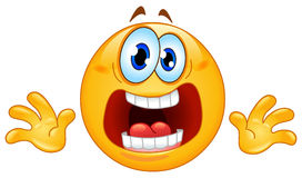 Panic emoticon. Funny cartoon of a terrified emoticon Royalty Free Stock Photo