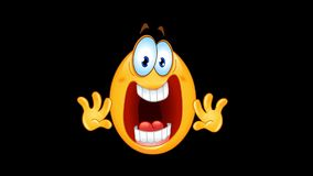 Panic emoticon animation. Animation of a panic stressed emoticon with alpha channel royalty free illustration