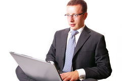 Panic eyes. A young businessman received bad news Royalty Free Stock Photography