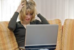 Panic on the laptop royalty free stock photography