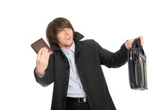 Panic man gives the personal belongings Royalty Free Stock Photos
