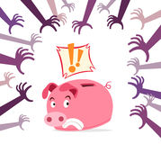 Panic piggy bank Royalty Free Stock Images