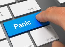 Panic pushing keyboard with finger 3d illustration. Panic pushing keyboard with finger 3d concept illustration stock illustration
