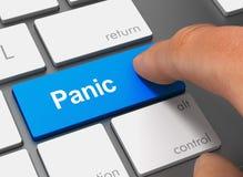 Panic pushing keyboard with finger 3d illustration. Panic pushing keyboard with finger 3d concept illustration Stock Photos