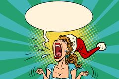 Panic rage anger screaming Santa girl. Comic book cartoon pop art retro vector illustration drawing Royalty Free Stock Image