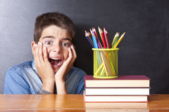 Panic at school. Children with panic at school Royalty Free Stock Photo