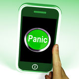 Panic Smartphone Means Anxiety Distress. Panic Smartphone Meaning Anxiety Distress And Alarm Stock Photos