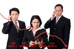 Panic when stock price fall. Three executives who express their panic when the stock price dropped that appear on clear display. The text from right to left Royalty Free Stock Photography