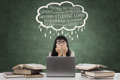 Panic student with cloud tag of problems Royalty Free Stock Photos