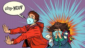 Free Panic. The Young Man Is Afraid Of A Sneezing Sick Girl. Novel Wuhan Coronavirus 2019-nCoV Epidemic Outbreak Royalty Free Stock Photo - 171115475